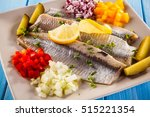 Stock photo marinated herring fillets 515221354