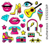 fashion patch badges with lips  ... | Shutterstock .eps vector #515222269