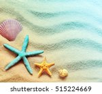 Sandy Beach With Multicolored...
