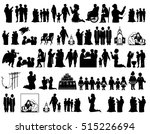 black silhouettes on white... | Shutterstock . vector #515226694