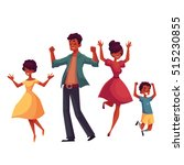 cheerful black family jumping... | Shutterstock .eps vector #515230855