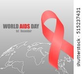 ribbon symbol of world aids day ... | Shutterstock .eps vector #515237431