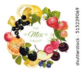 vector fruit and berry wreath.... | Shutterstock .eps vector #515239069