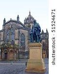 Small photo of Adam Smith memorial statue before St. Giles Cathedral, Edinburgh, Scotland