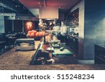 Stock photo restaurant kitchen interior bar counter made of natural stone fences off the open kitchen and 515248234