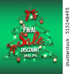 christmas sale banner with... | Shutterstock .eps vector #515248495