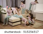 tired mother and a lot of kids. ... | Shutterstock . vector #515256517
