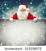 happy santa claus holding blank ... | Shutterstock . vector #515258575