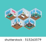 isometric office vector... | Shutterstock .eps vector #515263579