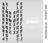 set of isometric alphabet gray. ... | Shutterstock .eps vector #515267185