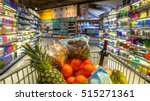 easter shopping grocery cart at ... | Shutterstock . vector #515271361
