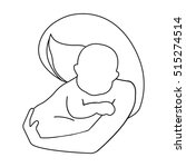 mother and baby icon in outline ... | Shutterstock .eps vector #515274514