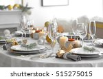table served for christmas... | Shutterstock . vector #515275015