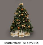 christmas tree with presents... | Shutterstock . vector #515299615