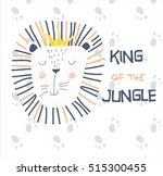 cute lion cartoon on footprint... | Shutterstock .eps vector #515300455