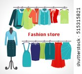 clothing store. boutique indoor ... | Shutterstock .eps vector #515315821