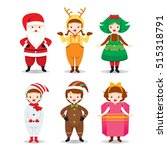 kids wearing christmas costumes ... | Shutterstock .eps vector #515318791