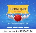 bowling poster vector... | Shutterstock .eps vector #515340154