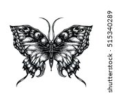detailed hand drawn butterfly... | Shutterstock . vector #515340289