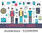 vector it geeks people icons... | Shutterstock .eps vector #515349394