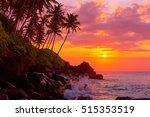 Sunset On Tropical Coast With...