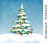 christmas tree with colorful... | Shutterstock .eps vector #515356231