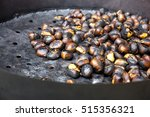organic brown chestnuts... | Shutterstock . vector #515356321