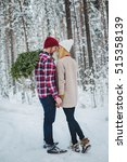 young couple with fir twigs...   Shutterstock . vector #515358139