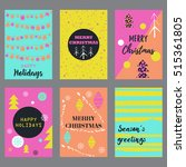 vector set cards with christmas ... | Shutterstock .eps vector #515361805