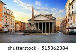 Pantheon And Fountain In Rome...