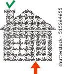 correct black maze in the shape ... | Shutterstock .eps vector #515364655