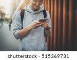 happy smiling hipster guy... | Shutterstock . vector #515369731