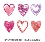 set of icons  hand drawn heart  ... | Shutterstock .eps vector #515382289