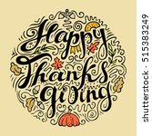 happy thanksgiving card. hand... | Shutterstock .eps vector #515383249