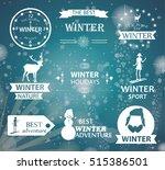 winter typography designs.... | Shutterstock .eps vector #515386501