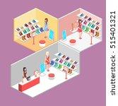 isometric interior shoe shop.... | Shutterstock . vector #515401321