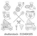vector black and white pizza... | Shutterstock .eps vector #515404105