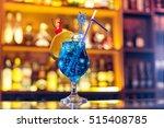 Blue Lagoon Cocktail On The Bar