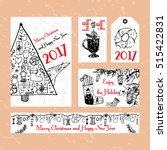 set of christmas cards. fir... | Shutterstock .eps vector #515422831