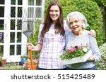 teenage granddaughter helping...   Shutterstock . vector #515425489