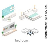 modern bedroom design in... | Shutterstock . vector #515427421