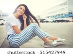 woman in striped pants and... | Shutterstock . vector #515427949