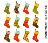 christmas gift socks set with...   Shutterstock .eps vector #515431531