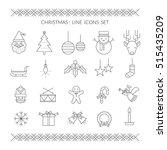 christmas line icons set ... | Shutterstock .eps vector #515435209