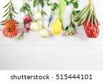 beautiful flowers on white ... | Shutterstock . vector #515444101