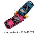 hand drawn car crash... | Shutterstock .eps vector #515445871