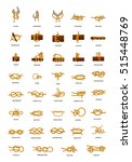 big set of different sea knots... | Shutterstock .eps vector #515448769