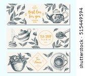 tea shop banner set. horizontal ... | Shutterstock .eps vector #515449594