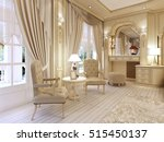 Stock photo dressing table and two chairs with a table lamp in classic luxury bedroom d render 515450137