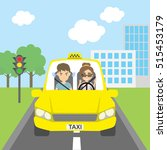 woman taxi driver with... | Shutterstock . vector #515453179